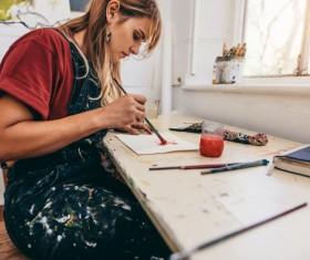 Female creation artist painting Stock Photo 07