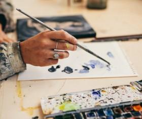 Female creation artist painting Stock Photo 09