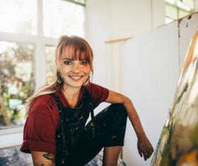 Female creation artist painting Stock Photo 10