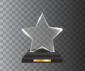 Five-pointed star acrylic glass trophy award vector