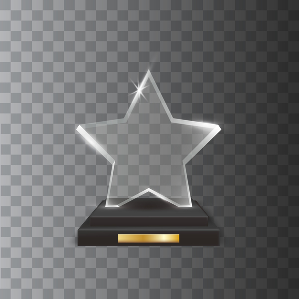 Five pointed star acrylic glass trophy award vector