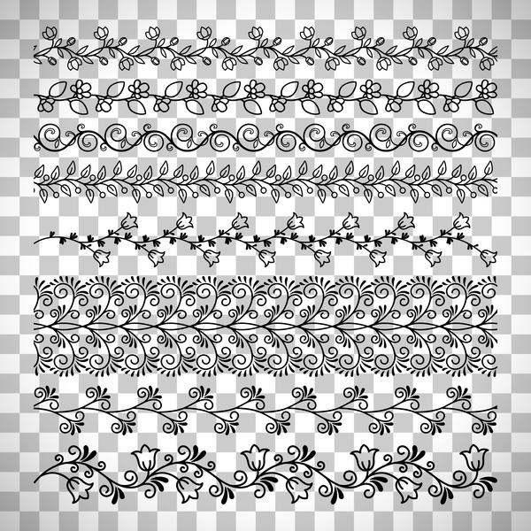 Floral seamless border design vector set 02