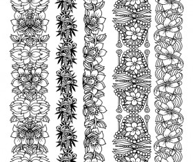 Floral seamless border design vector set 03
