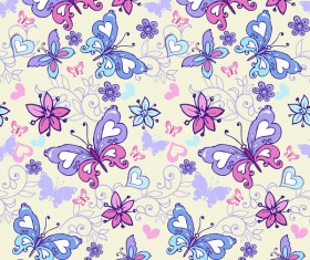 Floral seamless pattern with blue and pink butterflies vector
