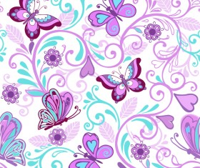 Floral seamless pattern with butterflies and flowers vector