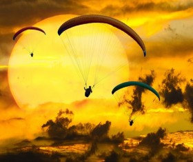 Flying paragliding Stock Photo