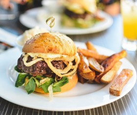 French french fries and jeseys burgers Stock Photo