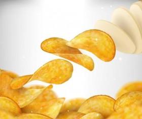 Fresh potato chips vectors illustration