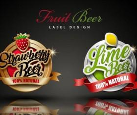 Fruit beer labels design vector