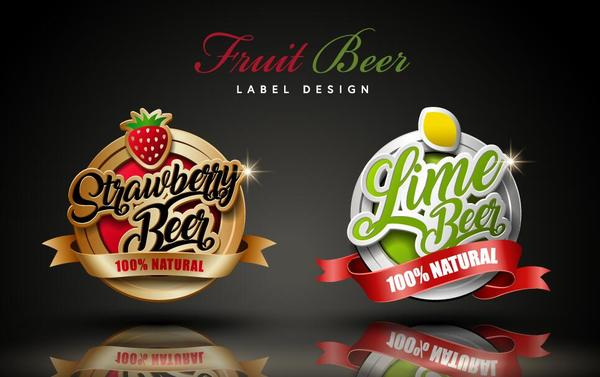 Fruit beer labels design vector free download