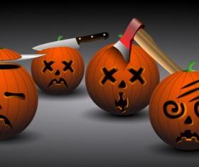 funny halloween pumpkin vector set