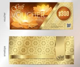 Golden diwali festival gift voucher vector template 01