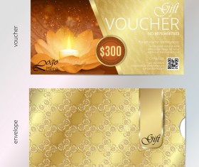 Golden diwali festival gift voucher vector template 02