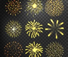 Golden fireworks illustration vector