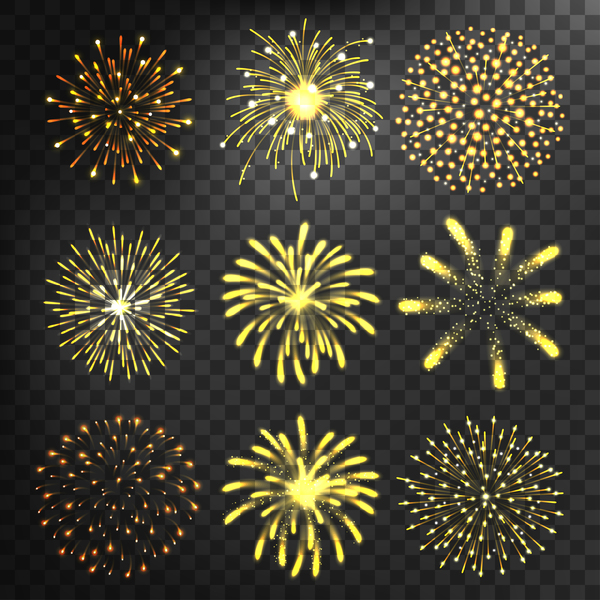 Golden fireworks illustration vector