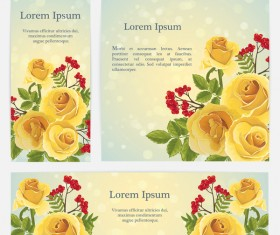 Golden rose banner with card template vector