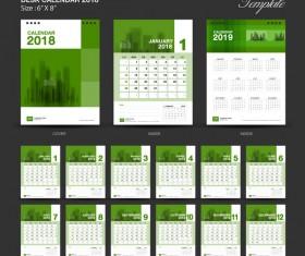 Green Desk Calendar 2018 year vector material