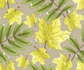 Green autumn leaves pattern vectors