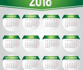 Green calendar 2018 template vector design