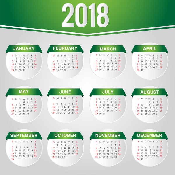 Green Calendar 2018 Template Vector Design Free Download