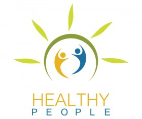 Green health people logo vector