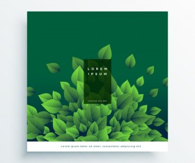 Green leaves cover design vector