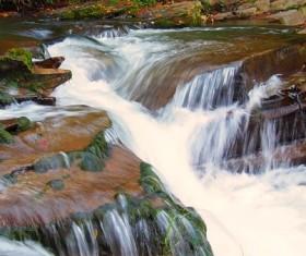 Green moss waterfall Stock Photo