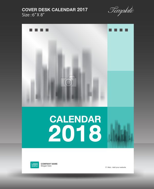 Green vertical desk calendar 2018 cover template vector