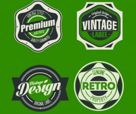 Green with black vintage labels vector material