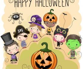 Halloween elements with cute kids cartoon vector 02