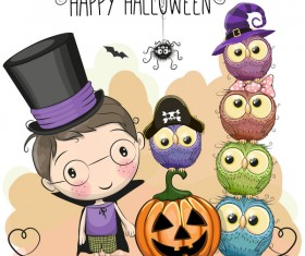 Halloween elements with cute kids cartoon vector 03