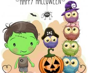 Halloween elements with cute kids cartoon vector 04