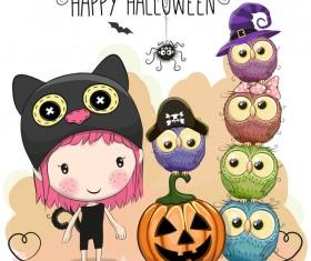 Halloween elements with cute kids cartoon vector 05