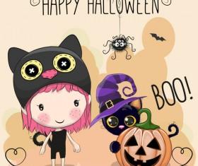 Halloween elements with cute kids cartoon vector 06