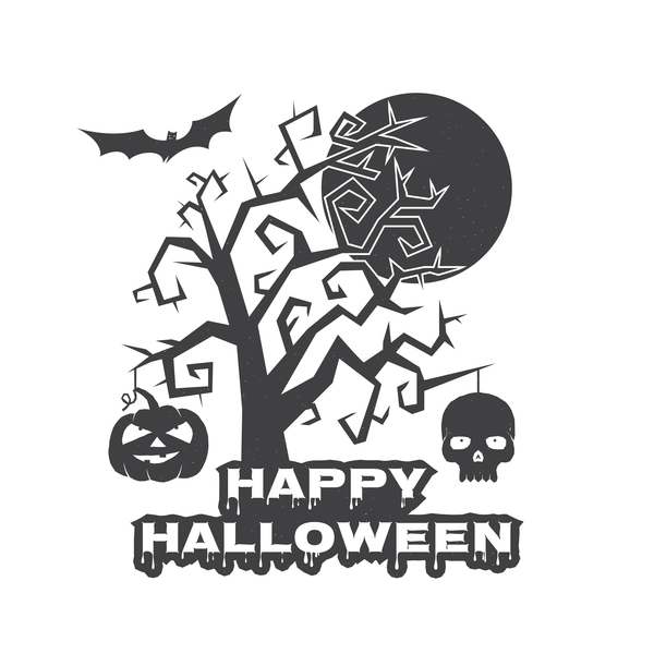 Halloween night with tree and skull vector