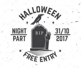 Halloween party labels with crow vector 01
