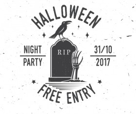 Halloween party labels with crow vector 02