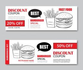 Hamburgers discount banner vector 01
