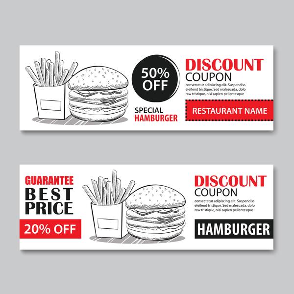 Hamburgers discount banner vector 02