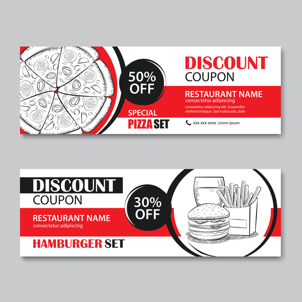 Hamburgers with pizza discount banner vector 01