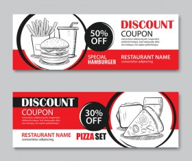 Hamburgers with pizza discount banner vector 02