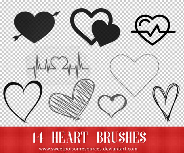 Hand Drawn Heart Photoshop Brushes