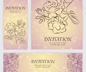 Hand drawn flower banner with card template vector