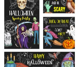 Hand drawn halloween elements with blackboard background vector
