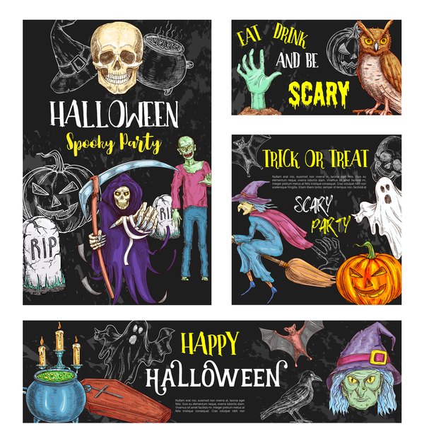 Hand drawn halloween elements with blackboard background vector