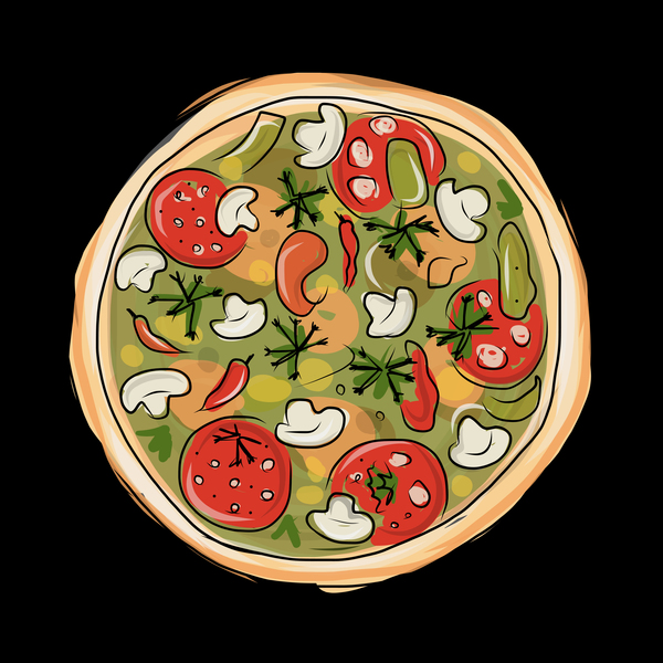 Hand drawn pizza vector illustration