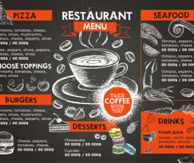 Hand drawn seafood menu template vector 01