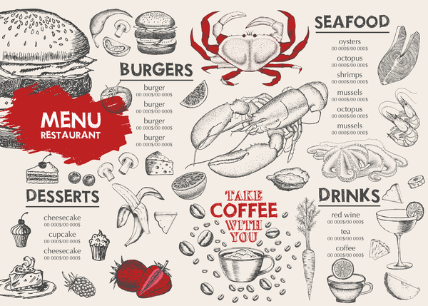 Hand drawn seafood menu template vector 02