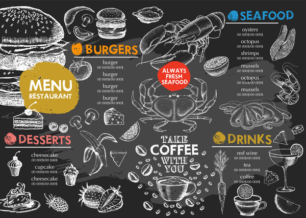 Hand drawn seafood menu template vector 03