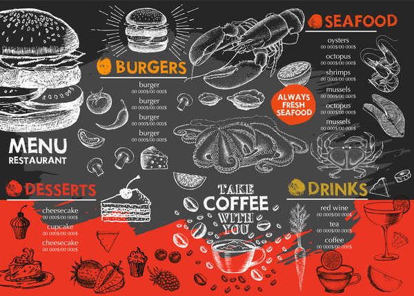 Hand drawn seafood menu template vector 04